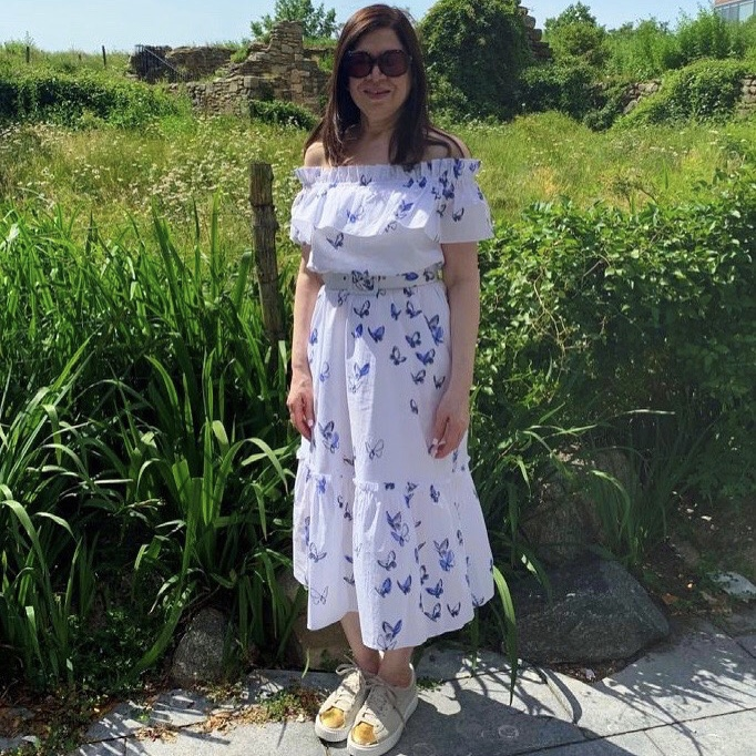 Clara Dress in White and Navy Butterfly