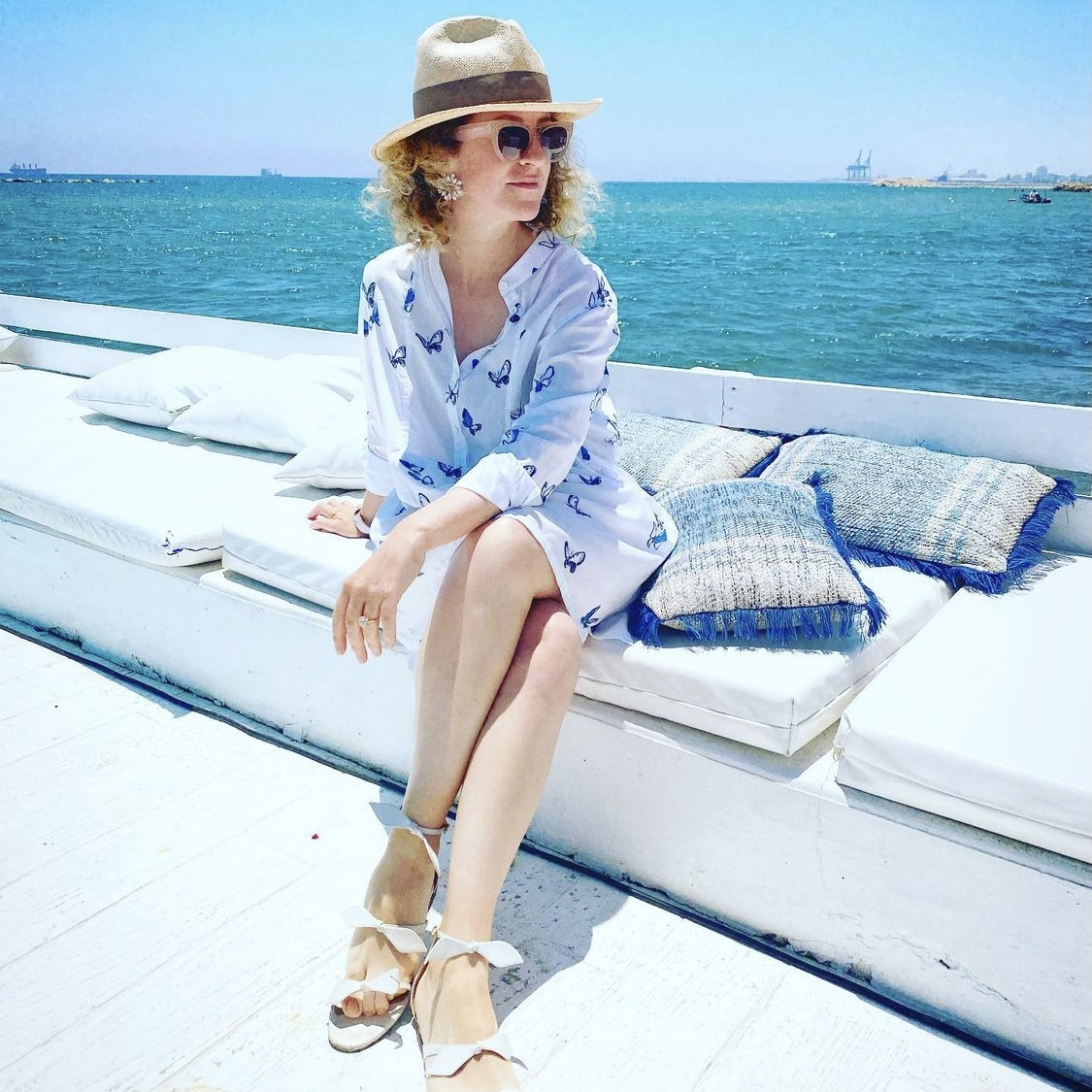 @olympia_grace wearing Blue + White Butterfly Dress