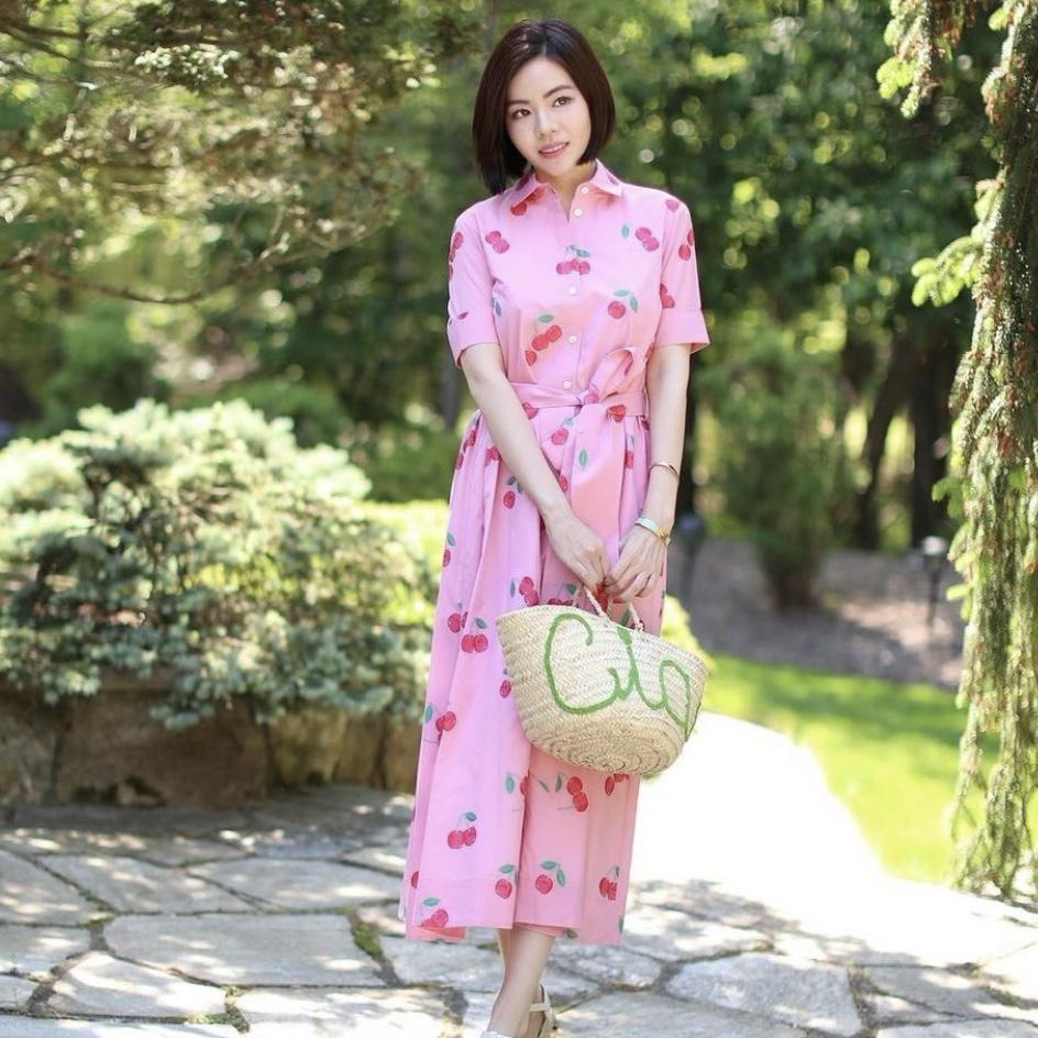 Amara Dress in Cherry in Rose Pink